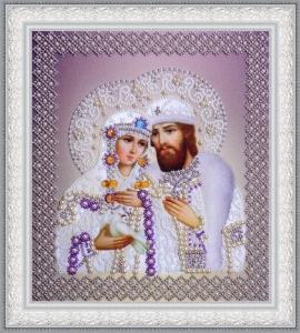 Святые Петр и Феврония  (жемчуг) серебро