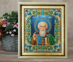 Вышитая бисером Икона Святого Сергия Радонежского