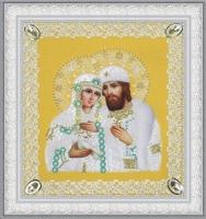 Святые Петр и Феврония  (ажур) золото