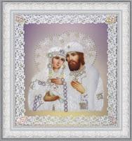 Святые Петр и Феврония  (ажур) серебро