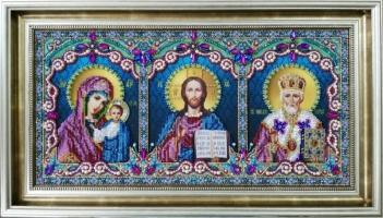 Икона тройная (Спаситель, Божья Матерь Казанская, Святой Николай Чудотворец)