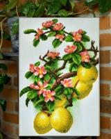 Вышитая бисером картина Цветущая айва