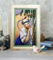 Вышитая бисером картина Жница