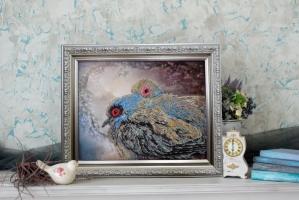 Вышитая бисером картина Горлицы