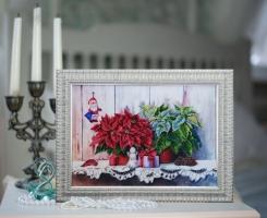Вышитая бисером картина Рождественский натюрморт