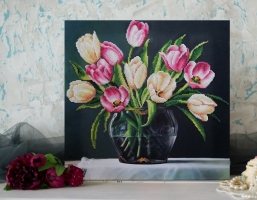 Вышитая бисером картина Весенний натюрморт