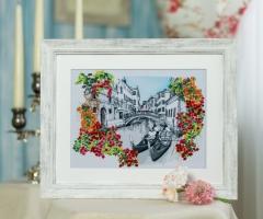 Вышитая нитками картина Венеция