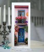 Вышитая нитками картина Цветущий балкон