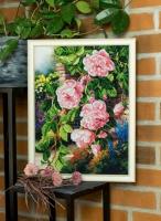 Вышитая картина Цветы в саду
