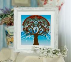 Вышитая нитками картина Дерево жизни
