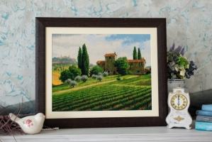 Вышитая нитками картина Виноградники