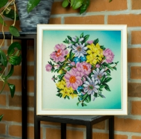 Embroidered picture Garden flowers