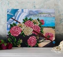 Вышитая картина Розы на берегу
