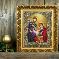 Вышитая бисером Икона Святое семейство