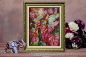 """Вышитая бисером картина """"Цветок фламинго"""""""