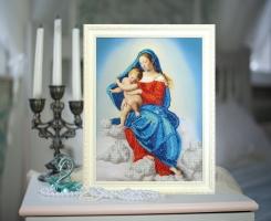 Вышитая бисером картина Дева Мария с младенцем