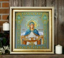 Вышитая бисером Икона Покров Пресвятой Богородицы