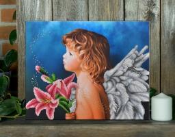 Вышитая бисером картина Ангелочек