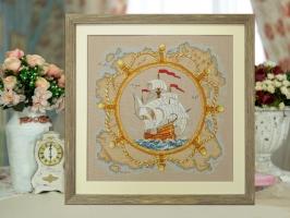 Картина вышитая нитками Морская история