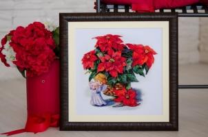 """Вышитая нитками картина """"Рождественский натюрморт"""""""